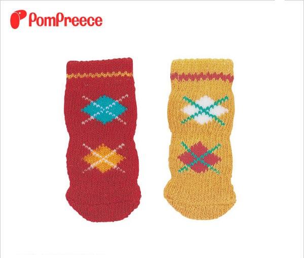 【新色登場】日本PomPreece居家棉質防滑襪,避免滑倒加強摩擦力(格菱紋)/LL號